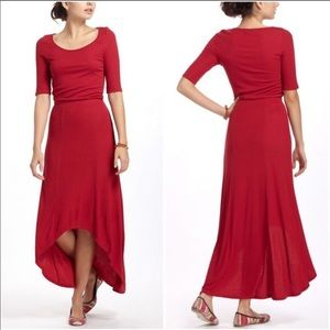 Bordeaux Red Ribbed Maxi Dress